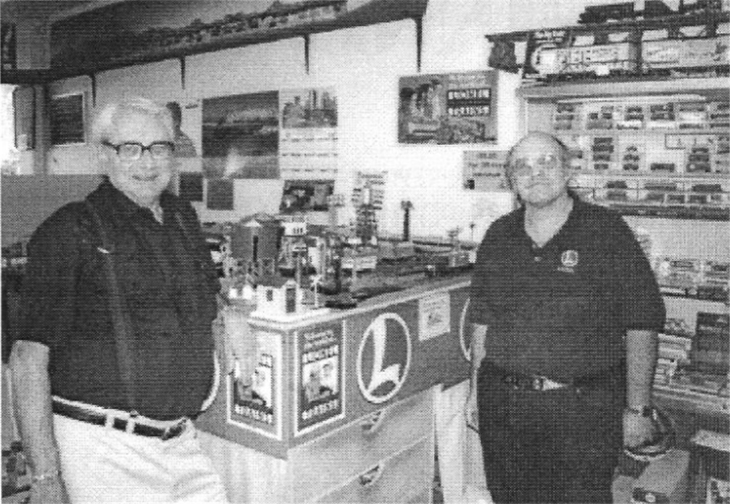 GREG PALMER AND WARREN HATCH AT THE NEW LOCATION OF THE TRAINS WEST HOBBY SHOP